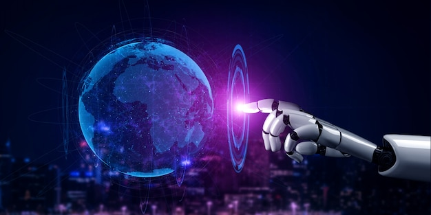 Будущий робот искусственного интеллекта и киборг.