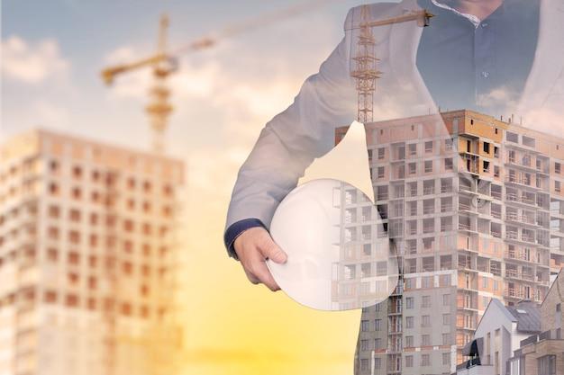 이중 노출 그래픽 디자인을 사용한 미래 건물 건설 엔지니어링 프로젝트 개념