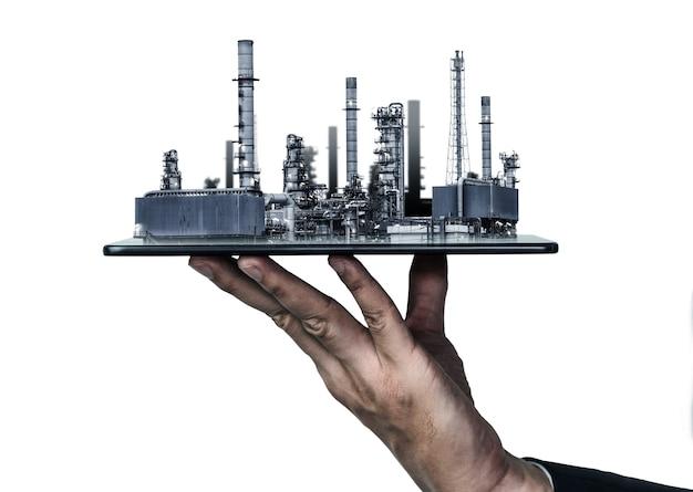 将来の工場プラントとエネルギー産業の概念。