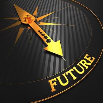 未来。 「未来」という言葉を指す黒いフィールド上の黄金の羅針盤の針。 3dレンダリング。