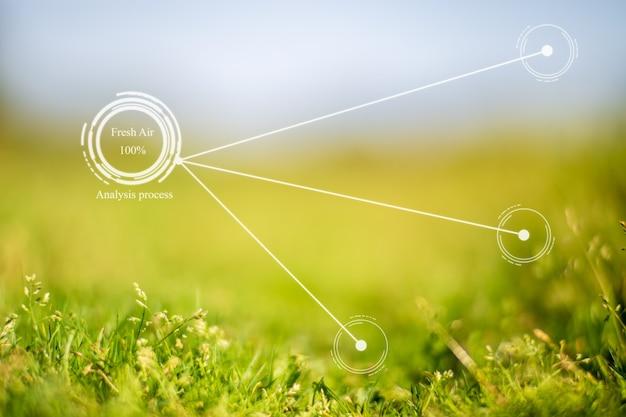 スマートエコロジーシステムの将来のイノベーション。自動測定、空気の純度と鮮度の分析。汚染を防ぐための環境技術の概念。新鮮な美しい自然の背景