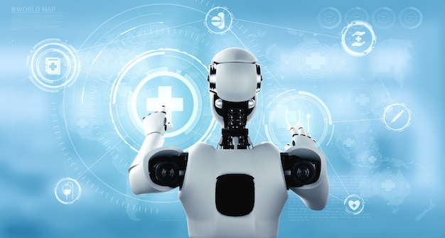 Медицинские технологии будущего, контролируемые роботом искусственного интеллекта, с использованием машинного обучения и искусственного интеллекта для анализа здоровья людей и предоставления рекомендаций по выбору лечения. 3d иллюстрации.