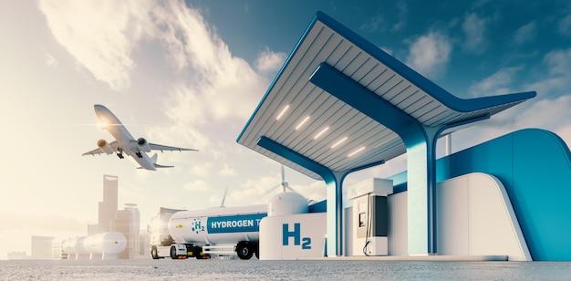 수소 에너지의 미래 트럭 제트기와 도시 3d 렌더링을 갖춘 수소 주유소