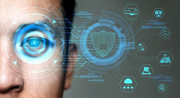 Будущие данные безопасности с помощью биометрического сканирования глаз.