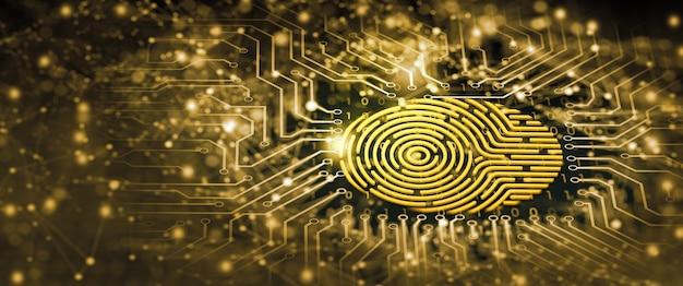 将来のセキュリティ技術指紋スキャンはセキュリティアクセスを提供します指紋セキュリティの概念
