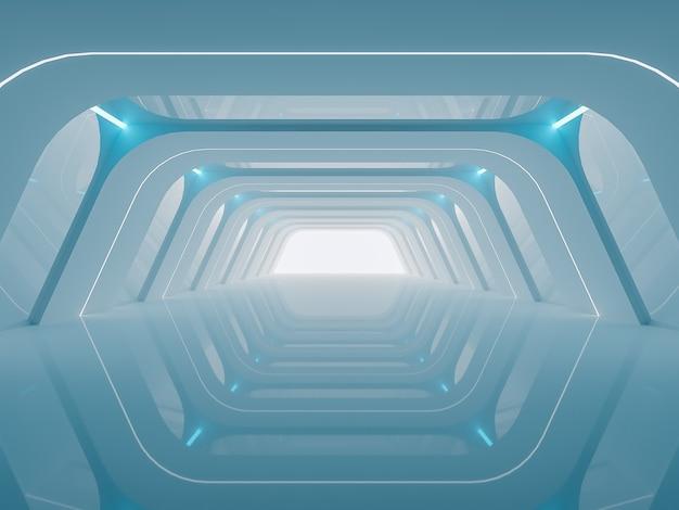 Будущий туннель фон с пустым современным пространством и фоном вид спереди 3d-рендеринг