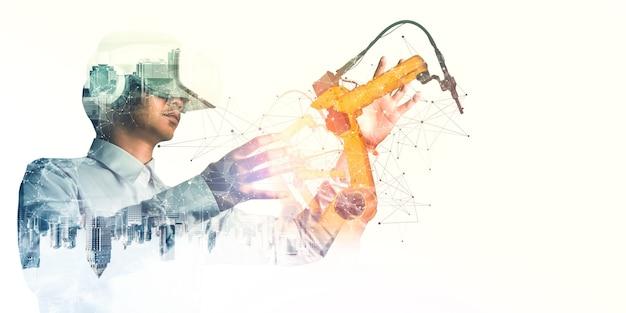 기계화 산업 로봇 팔 제어를 위한 미래 vr 기술