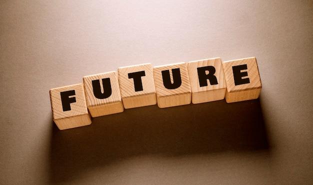 Future word written on wooden cubes