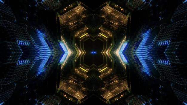Футуристическая 3d иллюстрация абстрактный фон дизайн визуально освещенного телепортационного туннеля круглой формы со светящимися стрелками, показывающими направление