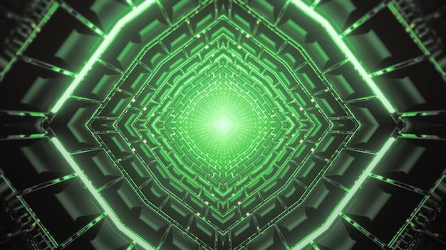 Футуристическая 3d иллюстрация абстрактный визуальный фон бесконечного туннеля с симметричными геометрическими фигурами, освещенными зелеными неоновыми огнями