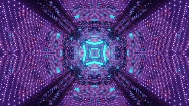 Futuristic 3d illustration abstract visual background with optical illusion effect inside of endless tunnel with geometric design and shiny blue and purple neon illumination