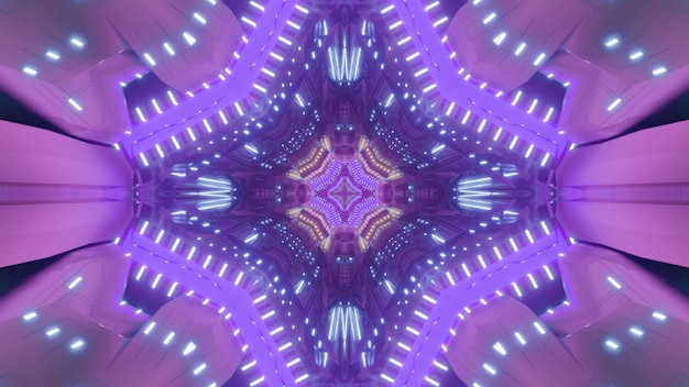 Futuristic 3d illustration of geometric abstract pattern shaped tunnel with bright neon pink and purple lights Premium Photo