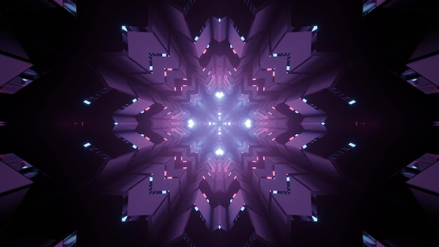 Futuristic 3d illustration of snowflake shaped pattern with purple illumination in darkness as abstract background