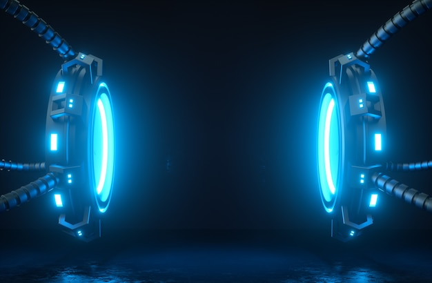 Futuristic 3d render mockup cyber platforms and cables with glowing neon lights
