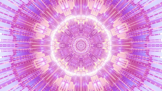 Futuristic 4k uhd 3d illustration abstract visual background design with symmetrical geometric fractal ornament in pink and purple neon shades