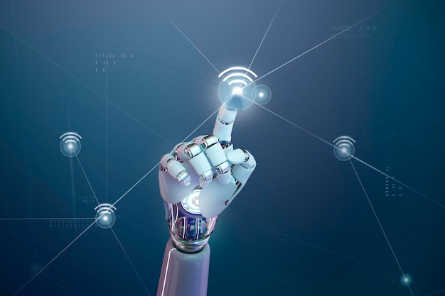 Futuristic 5g wireless network, ai robot hand tap on wifi icon