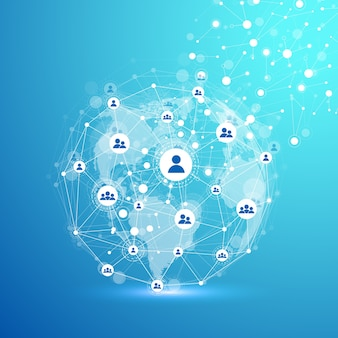 Futuristic abstract background blockchain technology peer to peer network business concept global cr...