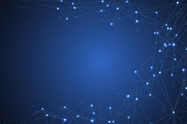 未来的な抽象的な背景ブロックチェーンテクノロジーピアツーピアネットワークビジネスコンセプトグローバルビジネス...