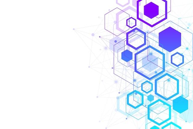 未来的な抽象的な背景ブロックチェーンテクノロジーピアツーピアネットワークビジネスコンセプトグローバル
