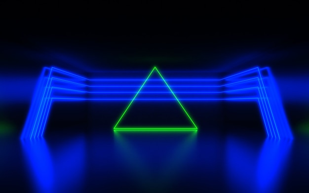 Futuristic abstract background. room with neon light. 3d abstract background