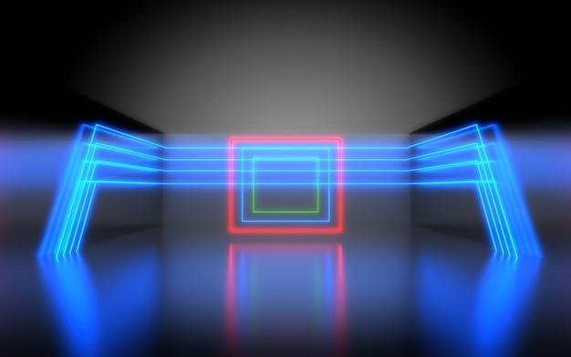 未来的な抽象的な背景。ネオンライトのある部屋。 3d抽象的な背景