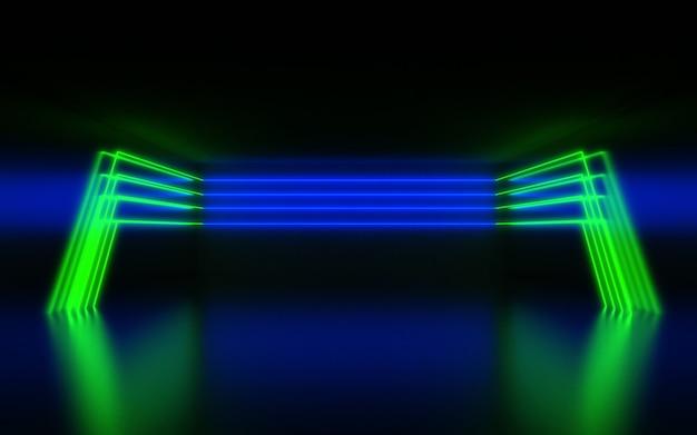 未来的な抽象的な背景。ネオンライトのある部屋。 3dイラスト