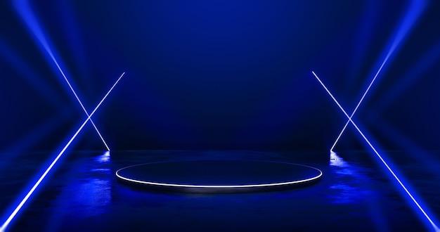 그루지 거리 바닥에 있는 미래형 추상 파란색 네온 조명 제품 배경 무대 또는 연단 받침대에는 발광 스포트라이트와 빈 디스플레이 플랫폼이 있습니다. 3d 렌더링.