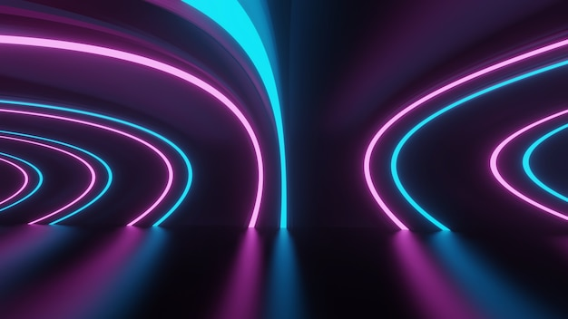 Futuristic abstract blue neon pink circle glow glow tunnel or portal frame design in dark room background with reflective floor 3d illustration