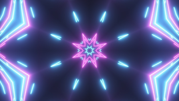 Futuristic abstract bright kaleidoscope with luminous lines