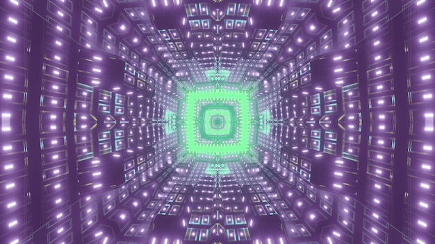 Futuristic abstract corridor with purple and green neon illumination and geometric patterns 3d illustration
