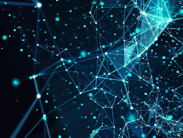 Futuristic abstract internet connection network background with motion effects