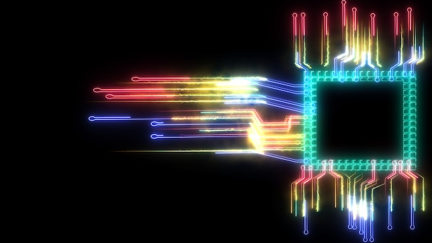 Futuristic abstract rainbow digital intelligent twisted light high speed chip data processing technology full power and energy cell moving around