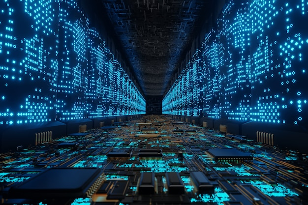 Футуристический инопланетный суперкомпьютер, подключение к сети, дата-центр, 3d визуализация