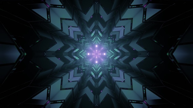 Futuristic architecture background with neon illumination 3d illustration