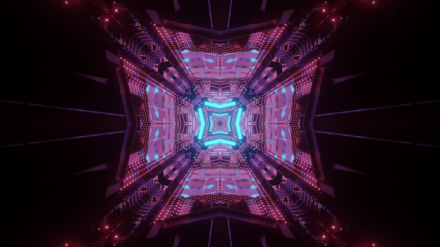 Futuristic architecture concept abstract visual background 3d illustration of dark underground passage perspective with glowing neon geometric lines and light reflections Premium Photo