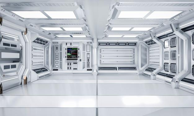 미래 건축 공상 과학 복도 및 복도 인테리어, 3d 렌더링