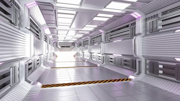 미래 건축 공상 과학 복도 및 복도 인테리어
