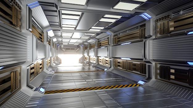 Futuristic architecture sci-fi hallway and corridor interior