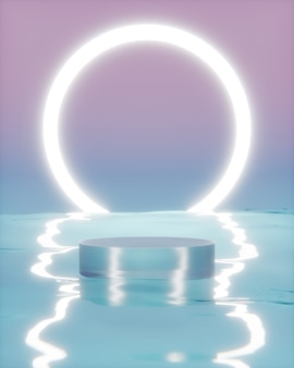 Futuristic background podium on water with halo neon background for product photography