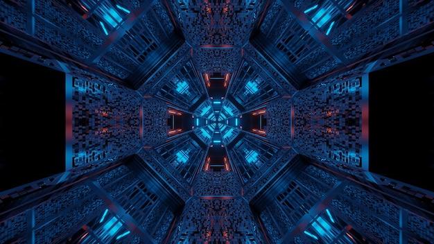 추상 보라색과 파란색 레이저 조명으로 미래의 배경