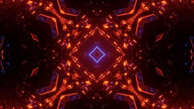 カラフルな光る抽象的なネオンライトと未来的な背景