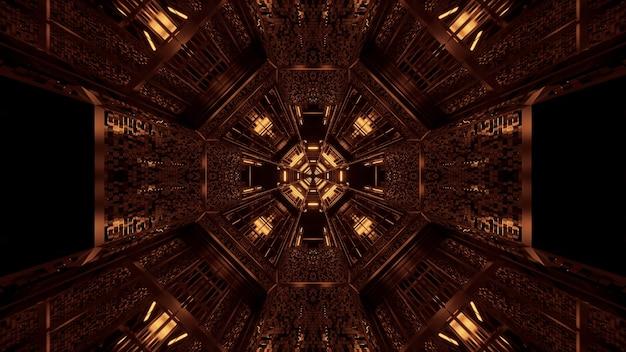 輝く抽象的なネオンライトパターンを持つ未来的な背景-宇宙背景放射に最適