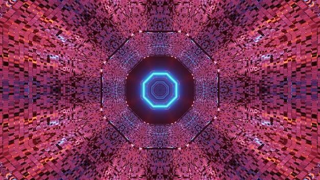 輝く抽象的なネオンの光のパターンを持つ未来的な背景-宇宙背景放射に最適