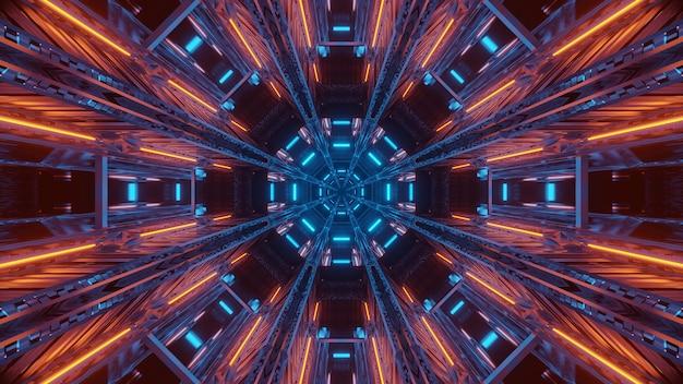 輝く抽象的なネオンの光と未来的な背景
