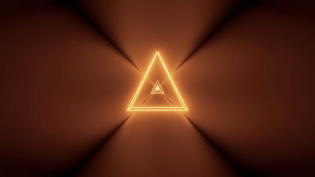 輝く抽象的なネオンライトと中央に三角形の形をした未来的な背景