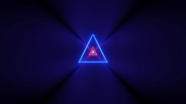Futuristic background with glowing abstract neon lights and a triangle shape in the center