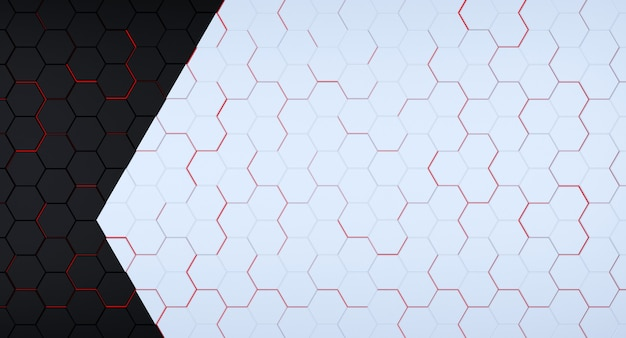 Футуристическая черно-белая шестиугольная сетка с красными вспышками под ней