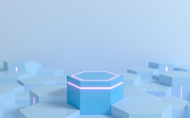 ディスプレイ製品のショーケース3dレンダリング用の紫色のネオンライトを備えた未来的な青い六角形のsf台座