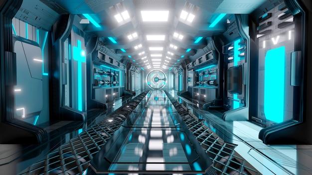 Футуристический синий научный фантастический коридор светящийся неоновый портал