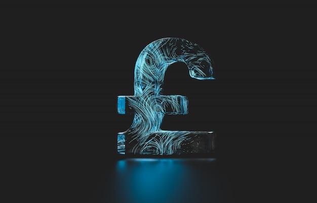 未来の英国ポンドのデジタル通貨。デジタルお金3 dアイコン。